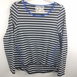 LILI'S CLOSET ANTHROPOLOGIE Striped Zipper Sweater